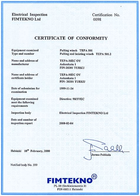 fax template pdf tepamec products 501 series certificate of conformity