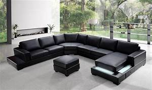 Elegant italian leather living room furniture long beach for Saria contemporary sectional sofa