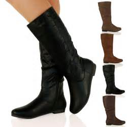 womens boots mid calf flat d7y womens flat zip up mid calf boots knee casual winter shoes ebay