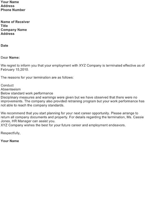 Termination Letter Sample - Download FREE Business Letter