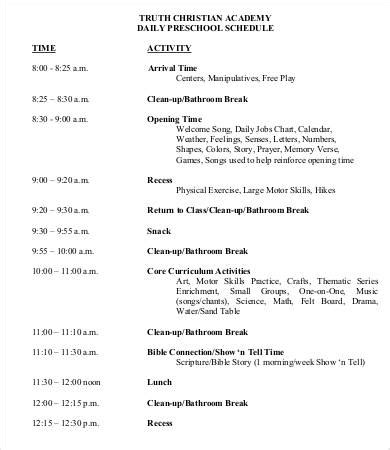 preschool schedule template 7 free word pdf documents 299 | Daily Preschool Schedule Template