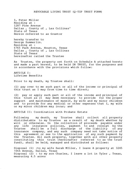 sle living trust form 8 exles in pdf word