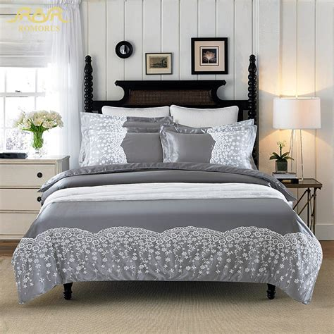 romorus 2017 new gray washed washed silk cotton solid color ộ ộ bedding bedding set 4pcs