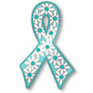 Ovarian Cancer Lapel Pin Teal Awareness Ribbon Flower Daisy Support Inspire New