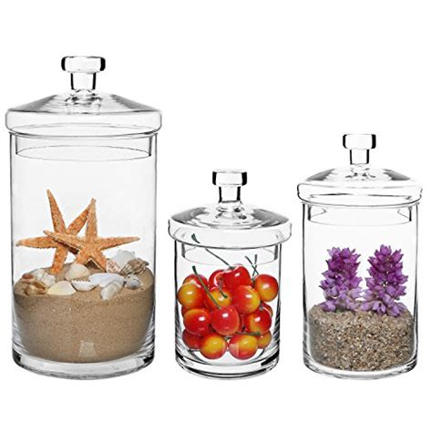 decorative kitchen canisters sets mygift shomhnk004 set of 3 clear glass kitchen bath