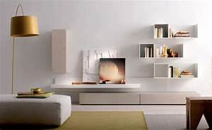 Clean white living room idea with creative wall mounted