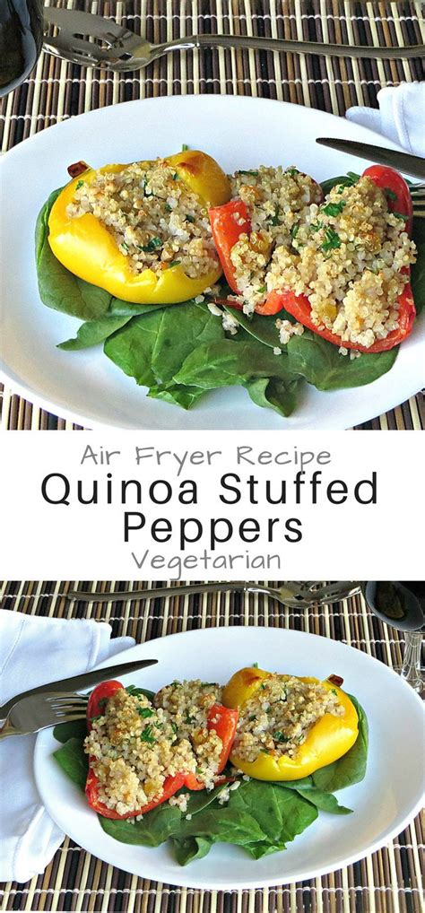 recipe air stuffed peppers fryer vegetarian recipes easy quinoa wineladycooks rabbit breakfast