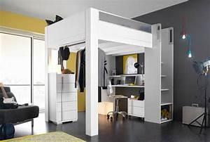 Hauteur Bureau Adulte : lit haut mezzanine 140x200 lits gain de place gautier lits rangements ~ Melissatoandfro.com Idées de Décoration