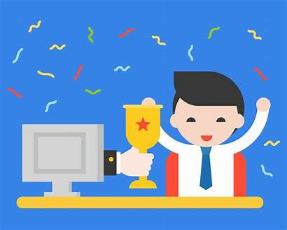 Competition Giving Screen Cup Hand Businessman Vector
