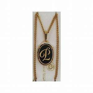 damascene gold letter p oval pendant With gold letter p pendant
