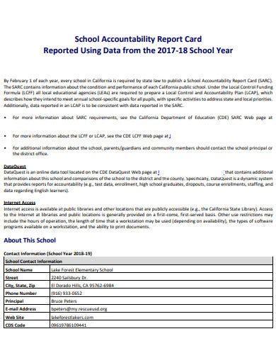 school accountability report card templates