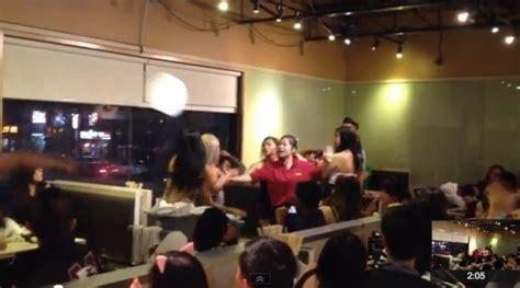 chinatown pho restaurant fight plates fly  brawl breaks