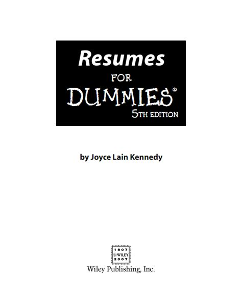 resume for dummies pdf free songs wallpapers softwares ebooks from resumes for