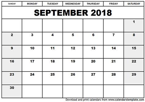 2018 Monthly Calendar Template September 2018 Calendar Template Monthly Calendar Template
