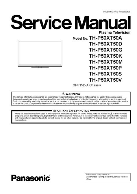 Manual de serviço tv plasma panasonic th p50xt50t by