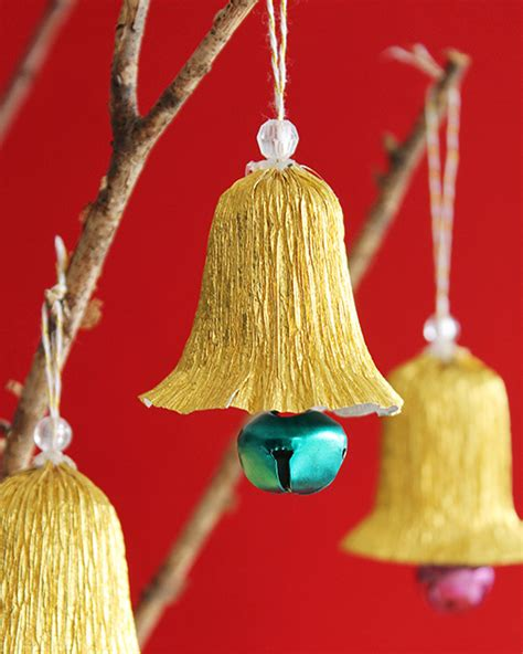 making christmas bell ornaments crepe paper bell ornaments sweet paul magazine