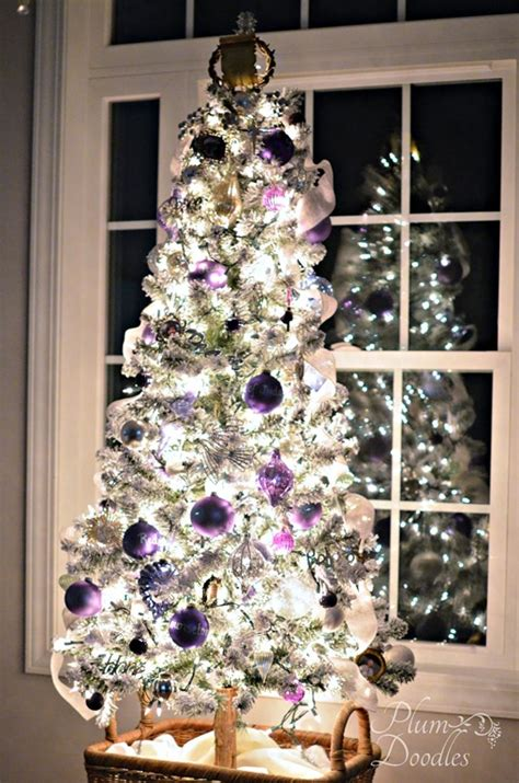 purple themed christmas tree a purple white and silver themed tree plum doodles