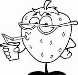 Coloring Cartoon Colouring Royalty Juice Clip Cartoons 80s Drawing Strawberry Clipart Sheets Fruits Cliparts Rolling Stones Funny Drink Printable Frog sketch template