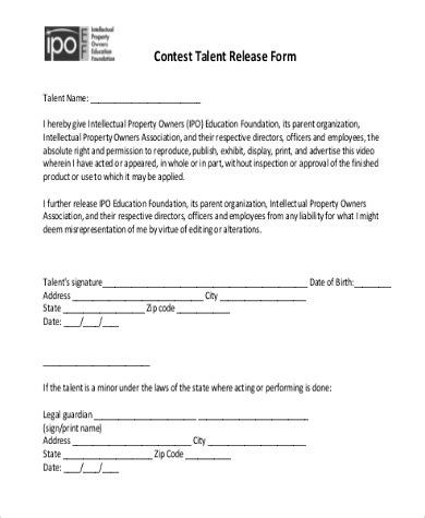 free talent release form sle talent release forms 8 free documents in doc pdf