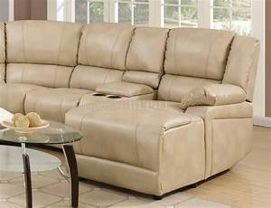 8303 reclining sectional sofa in cream bonded leather w With bonded leather sectional sofa with recliners