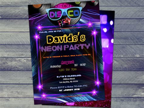 neon glow party invitation instantly  holidaypartystar