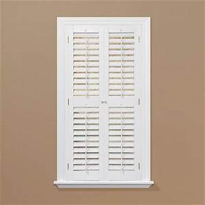 Homebasics plantation faux wood white interior shutter for Interior plantation shutters home depot