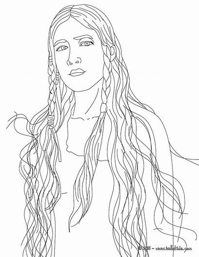 Coloring Pages Adults Native American Realistic Princess