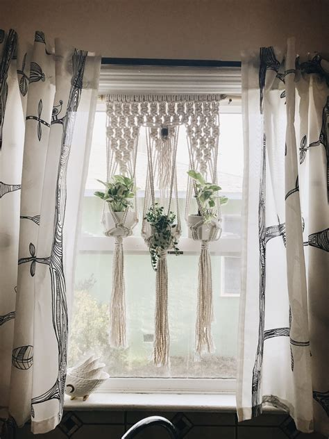 House Plants For Kitchen Window by Macrame For Kitchen Window Made With Cotton Rope