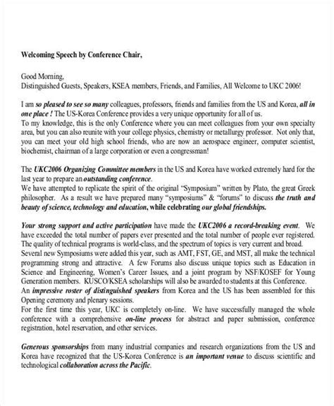 conference opening speech template 7 welcome speech exles sles pdf