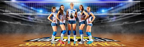 panoramic sports team banner photo template volleyball