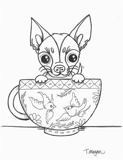 Chihuahua Teacup Coloring Drawing Pages Dog Cup