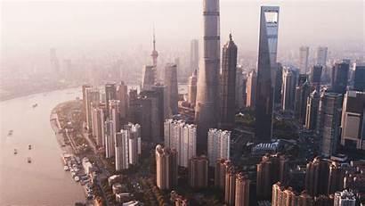Aerial River Metropolis Fog Buildings Widescreen