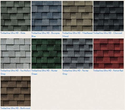 timberline shingles color chart gaf timberline ultra hd roof shingle colors roofing for