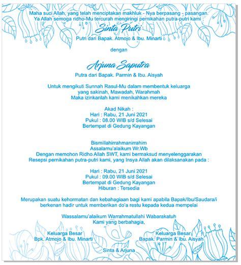 desain kertas undangan pernikahan jasmine murah  bisa