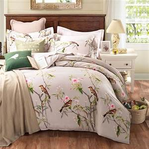 King And Queen Bettwäsche : pastoral style 100 cotton bedding sets queen king size bed linen floral plant birds printed bed ~ Frokenaadalensverden.com Haus und Dekorationen
