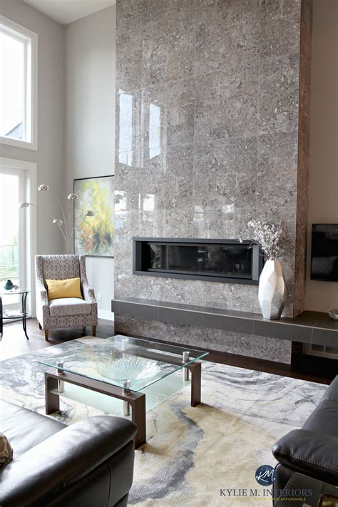 Contemporary design living room with tall tile fireplace