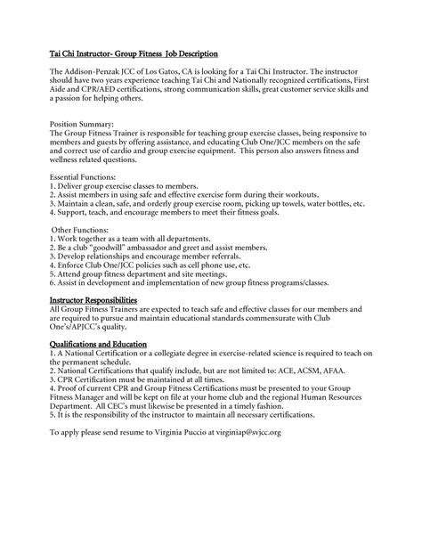 Fitness Instructor Resume by Description Instructor Anotherhackedlife