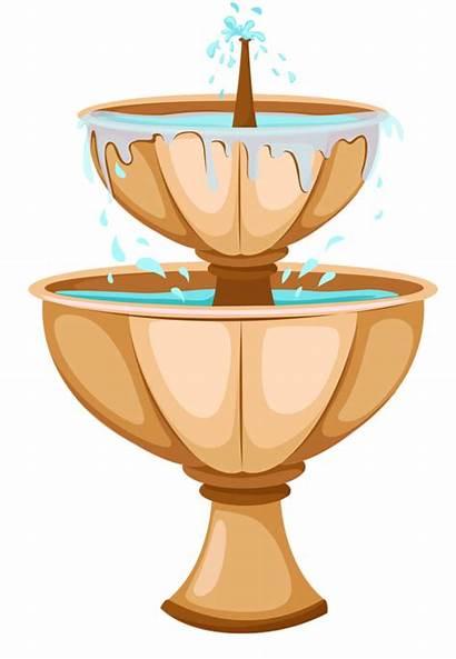 Water Garden Clipart Clip Fountain Transparent Furniture
