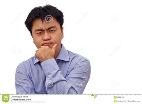 Isolation Photo Of Businessman Thinking Hard Stock