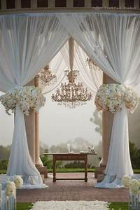 drapery with outdoor ceremony pillars simple wedding With simple elegant wedding decor