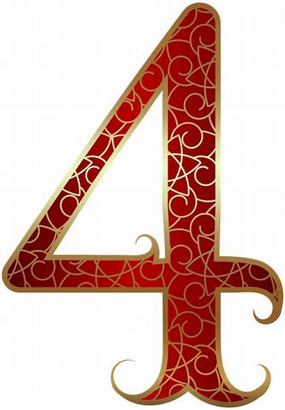 Number Numbers Gold Clipart Four Clip Decorative