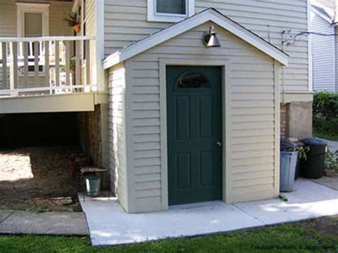 attached shed basement entrance freedom builders remodelers
