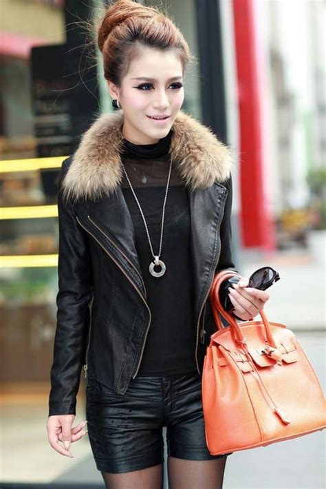 jaket kulit wanita leather fur coat jyf3iffc7e5