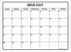 July 2019 Calendar Template calendar printable week