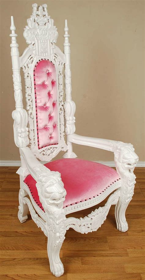 5 carved mahogany throne chair white
