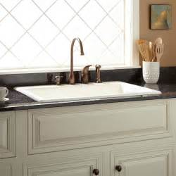 Top Mount Farmhouse Sink With Drainboard by 33 Quot Palazzo Cast Iron Drop In Kitchen Sink Kitchen