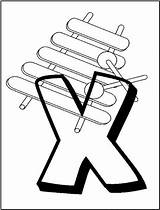 Coloring Printable Xylophone Alphabet sketch template