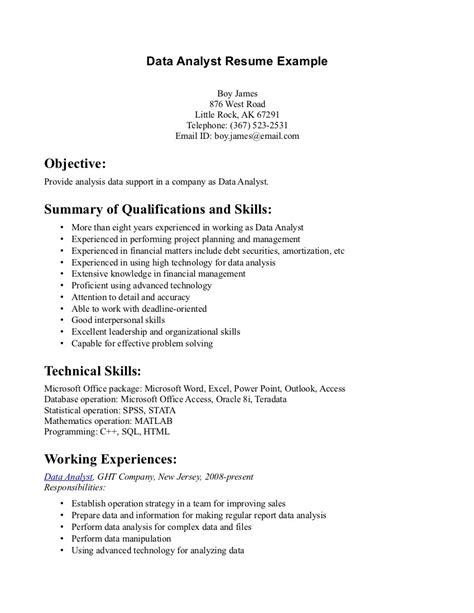 resume of data analyst 10 data analyst resume sle writing resume sle