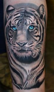 Black and white tattoo with a splash of color love it ...