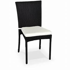 Chaise En Resine : salon de jardin en r sine tress e 6 chaises noir table d ~ Teatrodelosmanantiales.com Idées de Décoration
